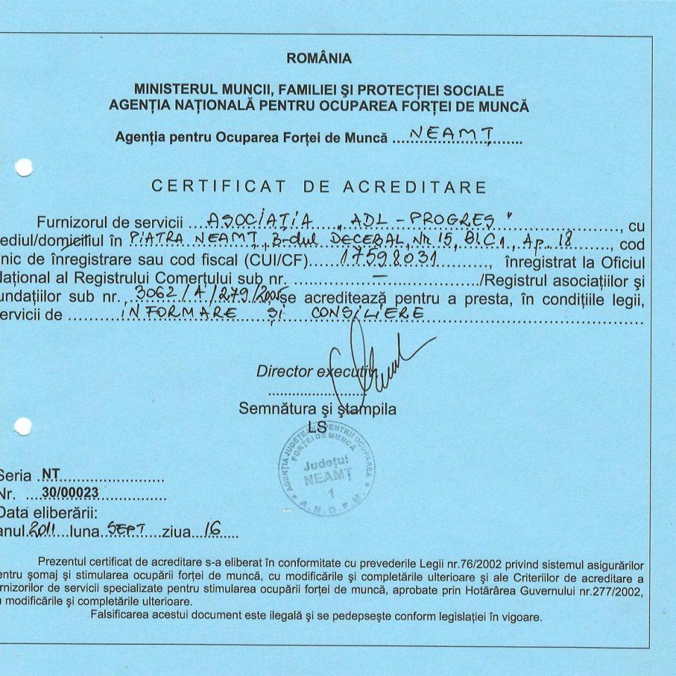 Certificat de acreditare-Informare si consiliere