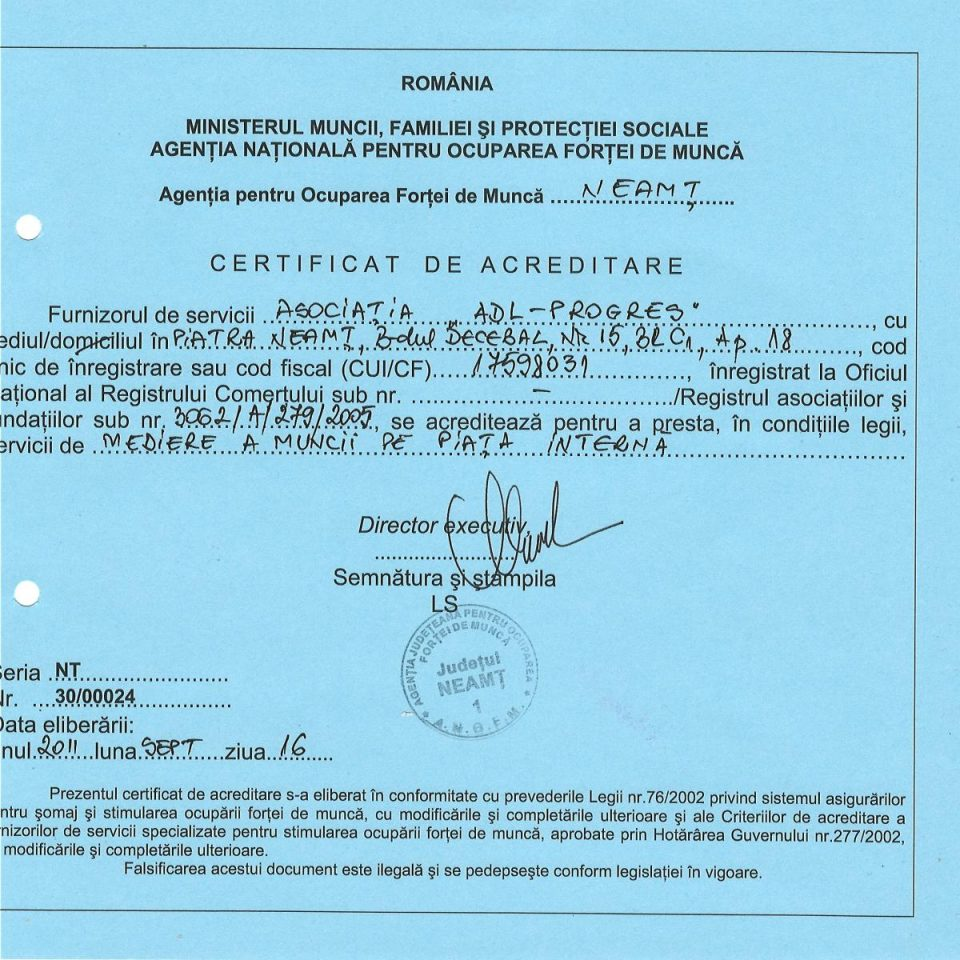 Certificat de acreditare-Mediere a munciipe piata interna